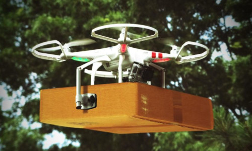 A drone carrying a package